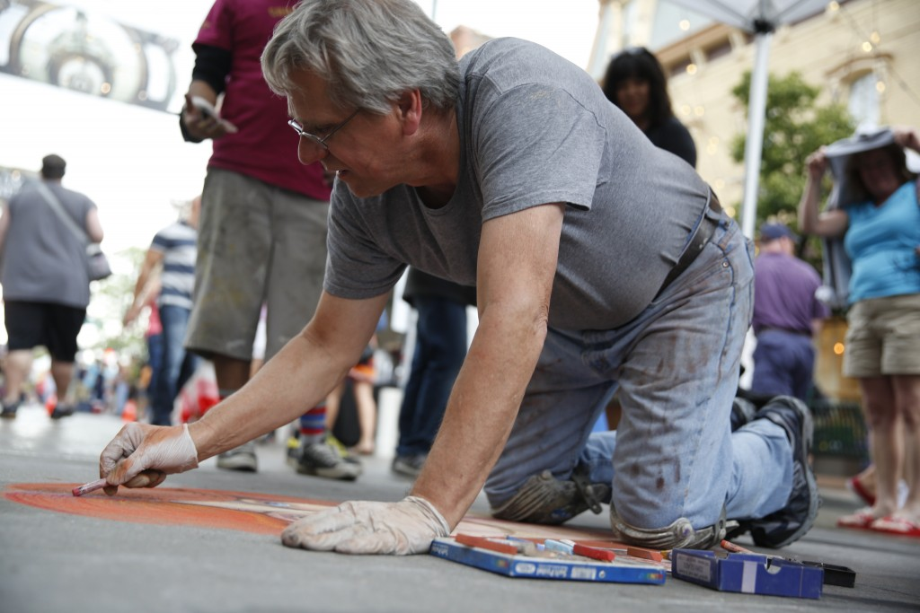 SHOT 6/6/15 1:45:19 PM - The Denver Chalk Art Festival is a free two day street painting event heald on Larimer Square in downtown Denver, Co. National and local artists turn Larimer Square's streets into a museum of chalk art. (Photo by Marc Piscotty / © 2015)